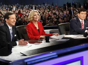 Chris Wallace, Megyn Kelley, and Bret Baier of Fox News